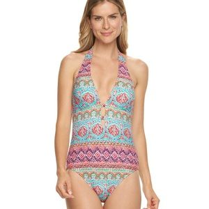 Chaps Tribal Halter One-Piece Swimsuit